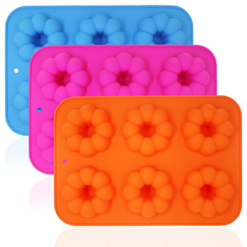 3 Stück Kürbis-geformte Silikon-Donut-Formen, Donut-Backformen, wiederverwendbarer FineGood 6-Cavity Cake Maker Cookie-Tablett für Küche, Spülmaschine, Ofen, Mikrowelle, Gefrierschrank - Für Cookie Maker Kids