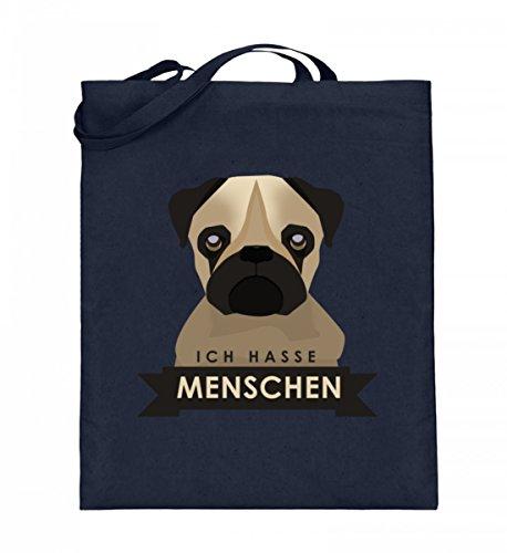 Hochwertiger Jutebeutel (mit langen Henkeln) - Ich Hasse Menschen Frecher Süßer Mops Hund Design Lustige Introvertierte Sprüche - Machen, Wie Lachen Frauen Die Zu