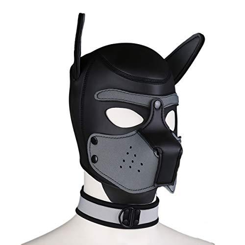 Duzzy Leder Vollmaske Puppy Mask Gepolsterte Welpenhaube Hund Welpe Kapuze Abnehmbarer Mund Kostüm Party Cosplay Unisex L (Kapuzen Leder Kostüm)