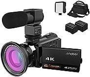 Andoer 4K Camcorder 1080P 48MP WiFi Digital Video Camera IR Night Sight 16X Digital Zoom with 0.39X Wide Angle