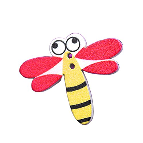 Botones - TOOGOO(R)50 piezas botones de coser de madera de dibujos animados de animales(libelula)