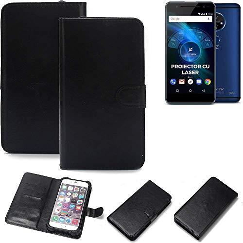 K-S-Trade 360° Wallet Case Handyhülle für Allview X4 Soul Vision Schutz Hülle Smartphone Flip Cover Flipstyle Tasche Schutzhülle Flipcover Slim Bumper schwarz, 1x