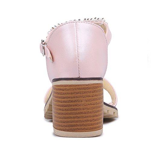 AllhqFashion Damen Rein Weiches Material Mittler Absatz Schnalle Offener Zehe Sandalen Pink