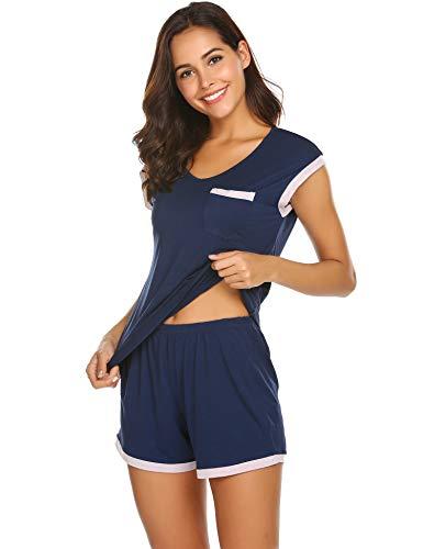 Schlafanzug Damen Kurz Pyjama Shorty Set Kurzarm Nachtwäsche Sommer Zweiteiliger Hausanzug Mit Sommerlicher Shorts & Shirt und Taschen S-XXL
