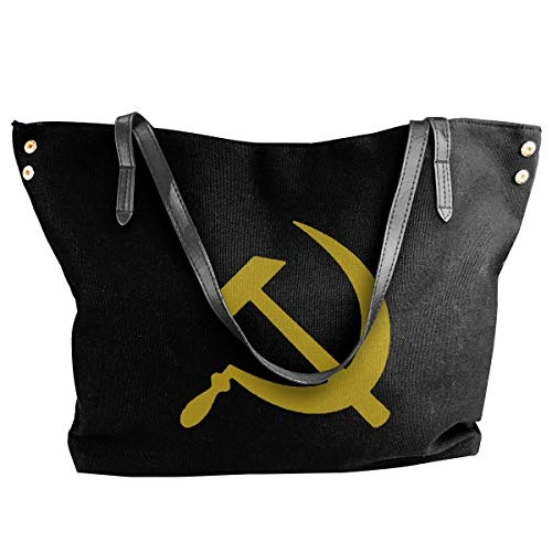 fregrthtg Women's Stylish Casual Tote Bag Canvas Travel Bags - Hammer And Sickle Shoulder Bags