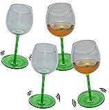 Unbekannt 4 Stk _ lustige Weingläser mit Shaking Effekt - Grün mit Stiel - Wein Glas - Weine Weinglas - Wackelglas Gläser Wackelt