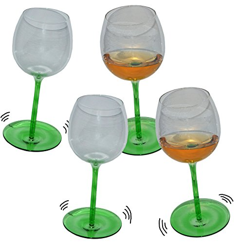Unbekannt 4 Stk _ lustige Weingläser mit Shaking Effekt - Grün mit Stiel - Wein Glas - Weine...