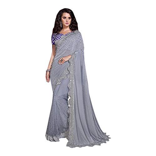 Sari 8633 Damen Bluse mit Swarovski-Kristallen und Fransen, indisch, Blau/Grau