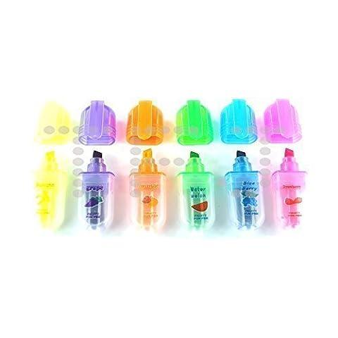 Mini Parfumé Stylo Surligneur - Fruit ParfuméÉcrire Highlighter Artisanat Stylos Sac De Soirée Cadeau - Bleu/Vert/Orange/Rose/Violet/Jaune, 1 lot