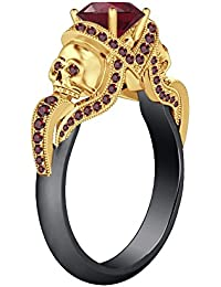 Silvernshine 1.52Ct Red Garnet CZ Diamond Wedding Two Skull Design Ring 14K Black & Yellow Gold PL