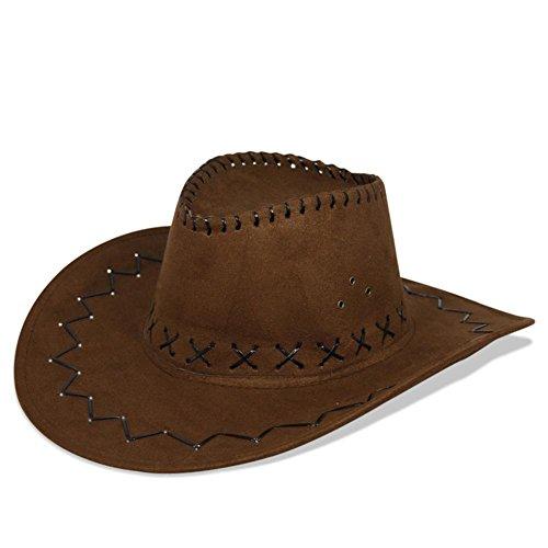 HC-Handel 910508 Cowboyhut Westernhut Western Wildlederoptik schwarz, braun oder (Hut Cowboy Wildleder)
