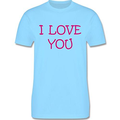 Valentinstag - I Love You - Herren Premium T-Shirt Hellblau