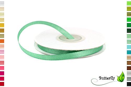 Satinband, Schleifenband, salbeigrün | 25m Rolle 6mm
