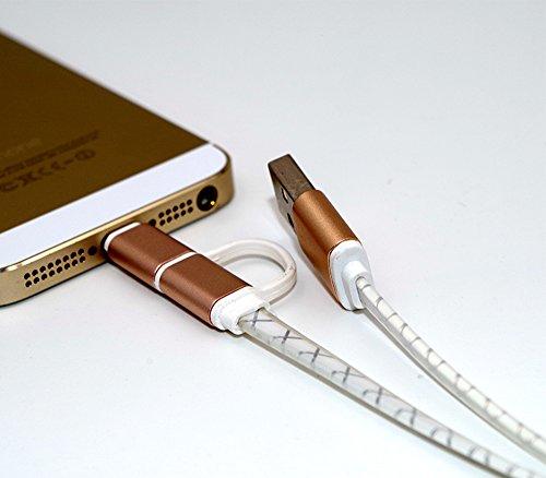 Cargador 2 en 1, conector Lightning y Micro USB (1 m), compatible con iPhone, iPad, Samsung, Smartphone Android y tabletas Android - Plata