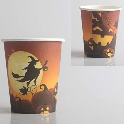 Leezo Halloween Party Supplies Einwegpapier Geschirr Ghost Festival Pappbecher