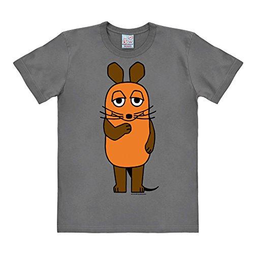 Logoshirt TV - Cartoon - Die Sendung mit der Maus - Die Maus Easyfit T-Shirt Grau - Lizenziertes Originaldesign, Größe ()