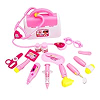 Scoolr Doctors Kit for Children, 16pcs Kids Doctor Kit with Electronic Stethoscope Pretend Doctor Role Play Medical Toys Set in Pink Durable Case Doctor Toys for 3 4 5 Years Olds Girls