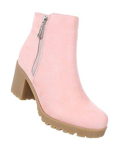 Schuhcity24 Damen Stiefeletten   Aktuelle Boots Schnalle Kette   Knöchelhohe Stiefel Leder-Optik  ...