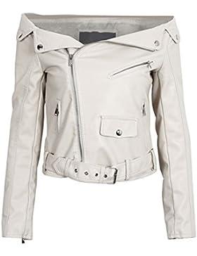 Simplee Apparel Women 's Winter hombro apagado de imitacion de cuero Biker Motorcycle Jacket Outerwear Zip Punk