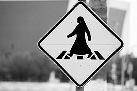Walter Bibikow / DanitaDelimont – Qatar Ad Dawhah Doha. Arabian Pedestrian Crossing Sign / Al-Corniche Street Photo Print (91.44 x 60.96