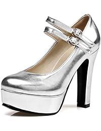 08637b62950 Zapatos para Damas Bombas con Correa para el Tobillo Plataforma Cuadrados  Tacones Altos Hebilla Plateado Fiesta