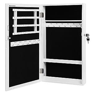 songmics h ngend schmuckschrank wandspiegel zum h ngen mit t r und magnetverschluss. Black Bedroom Furniture Sets. Home Design Ideas