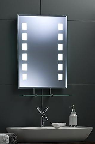 MiniSun Miroir de salle de bain lumineux rétro-éclairé fluo rectangulaire Miroir avec étagère 50 x 70 cm avec lumières 435J livraison GRATUITE et les retours gratuits