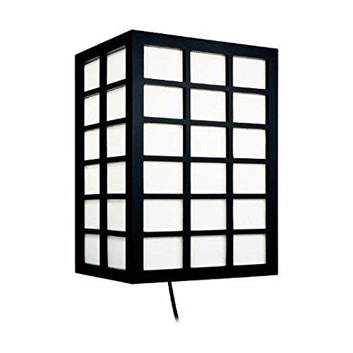 Wandleuchte Kumo Reis Papier Beleuchtung Shiga-Schwarz Mit Quadrate modernen japanischen Stil Orientalischer asiatischen Schreibtisch Licht Wand Schlafzimmer Nachttisch Bestandteil -