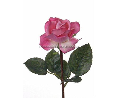 Kunstliche Rose mit real Touch Effekt mit rosa/weißer Blüte, 35cm - Kunstpflanze künstliche Blumen Kunstblumen Blumensträuße künstlich, Seidenblumen oder Blumen aus Plastik Kunststoff </p> --> großes Kunstblumen Sortiment