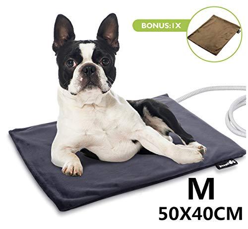 Pecute Haustier Heizkissen Heizmatte für Hund Katze Wärmematte Konstante Temperatur Sicher und wasserdicht Heizdecke Eein Stoffbezug M(50 * 40cm)