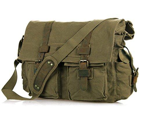 E-Bestar canvas bag uomo borsa a Spalla per la Scuola Tela Bag Tracolla Messenger (Verde)