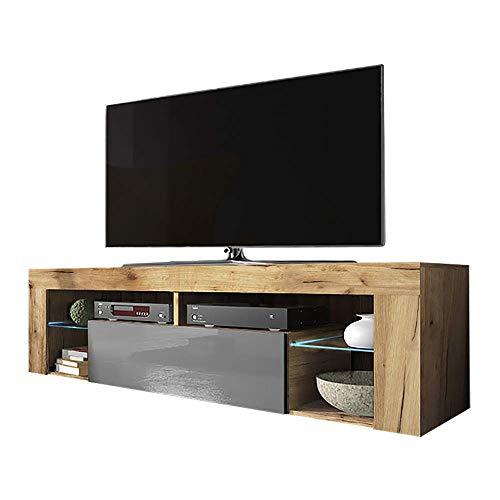 Selsey Bianko - TV-Lowboard/TV-Schrank in Holz-Optik mit Klappe und LED-Beleuchting Stehend, Lancaster Eiche/Grau Hochglanz, 35 x 140 x 51 cm