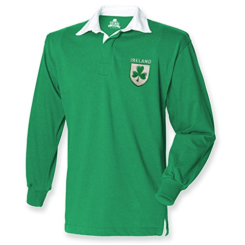 Trikot / langärmliges T-Shirt für Herren, Motiv: Irland, irisches Kleeblatt, 6 Nations, Rugby-Fan, Retro, Jersey  Gr. Medium, Grün - Irish Green (Irische Die Rugby-irland)