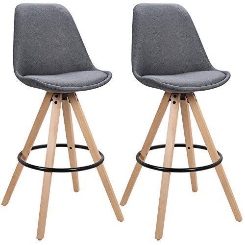 WOLTU BH90dgr-2 2 x Barhocker 2er Set Barstuhl aus Leinen Holzgestell mit Lehne + Fußstütze Design Stuhl Küchenstuhl Optimal Komfort Dunkelgrau