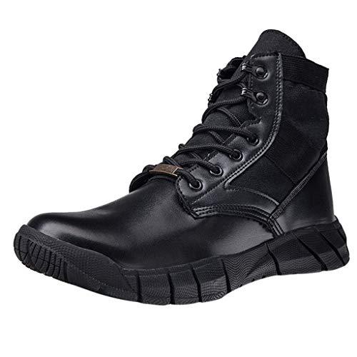 LäSsige Herren Krawatte Mit Taktischen Wanderstiefeln Sportgeräte Schuhe,Einfarbige, Abriebfeste, rutschfeste Outdoor-Boots Yebutt