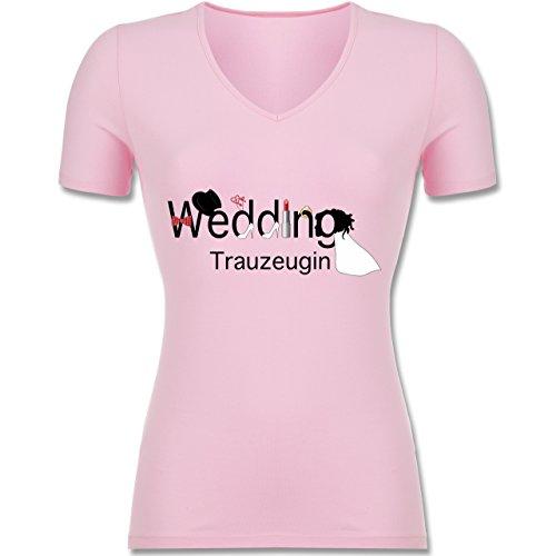 JGA Junggesellinnenabschied - Wedding Trauzeugin - L - Rosa - F281N - Tailliertes T-Shirt mit...