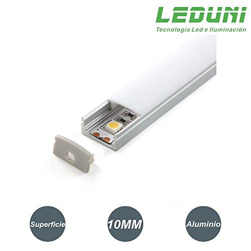 LEDUNI ® Perfil de Aluminio para Tira LED Superficie 1 Metro Ideal para Tira LED 12V Pack de 2 Unidades