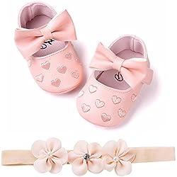 Fossen Zapatos de Bebe Fossen Recién Nacido Niñas Piel Artificial Primeros Pasos Bordado Corazón Patrones Y Diadema de Flores (6-12 Meses, Rosa)