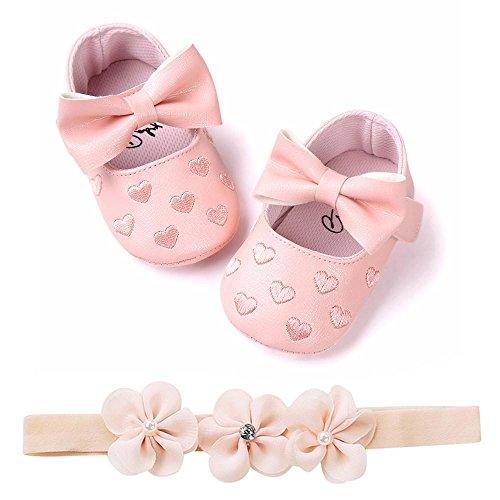 Fossen Zapatos de Bebe Fossen Recién Nacido Niñas Piel Artificial Primeros Pasos Bordado Corazón...