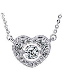 8658e8f410c0 Purmy Mujer Collar Plateado Colgante Blanco Cubic Zirconia Brillante Modelo  Corazón Forma Diseño Exquisito Estilo Plata