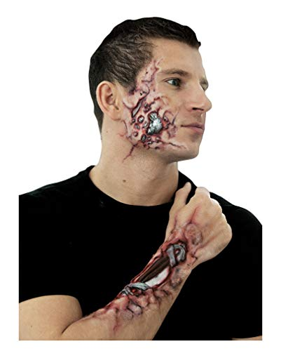 Horror-Shop 2-teilge Cyborg Roboter Latexwunde