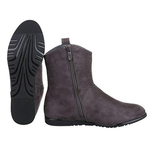 Ital-Design Komfort Stiefeletten Damen Schuhe Schlupfstiefel Moderne Reißverschluss Stiefeletten Grau