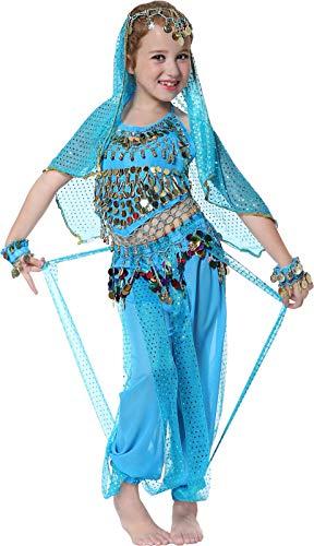Seawhisper Bollywood Kostüm Kinder Fasching Halloween Indische Bauch Tanzkostüm für Mädchen Blau 152/164