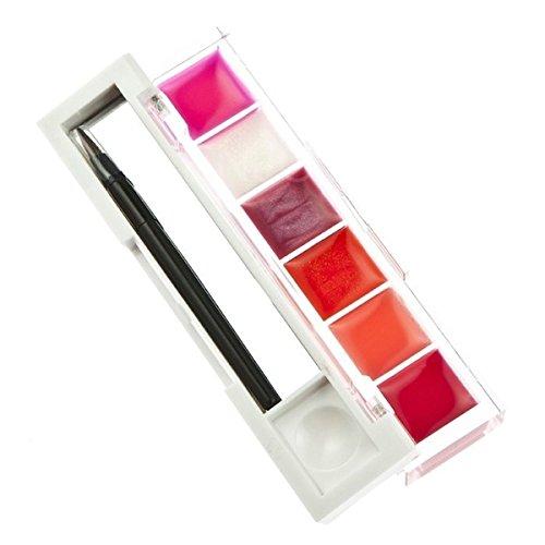 Brillant a levres style B - SODIAL(R)6 Brillant a levres Hydratant pour le Maquillage avec un Miroir et un pinceau de maquillage - style B