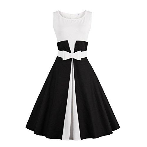 iShine Retro Kleider Damen Knielang 1950er Rockabilly Faltenrock elegante Kleider damen Ärmellose Abendkleider Partykleider Cocktailkleider mit Gürtel-Schwarz A-3XL (60er Jahre Brautkleid)