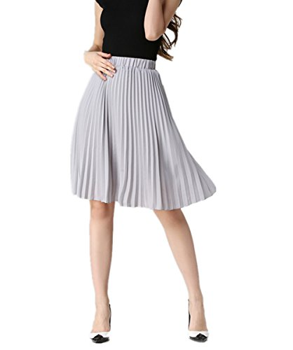 uideazone Women Ladies Casual Skirts Summer Beach Knee Length Chiffon A-Line
