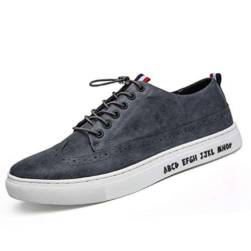 XIANGBAO-Personality Skate Sneakers für Herren, PU-Leder, dünn, atmungsaktiv, lässig, lässig, Laufschuhe, Outdoor, Kordelzug, flache Jackanapes mit Flügelspitze, rutschfest, Grau - grau - Größe: 39 EU
