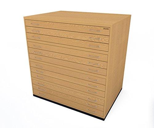 Kommode Plan (Traditionelles A012Schubladen Plan Eiche Papier Schrank mit zwölf Tiefe Schubladen halten Papier der A0)