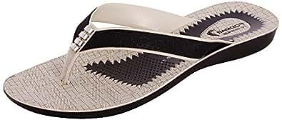 Poddar Women Black Pu Slippers - 8 UK