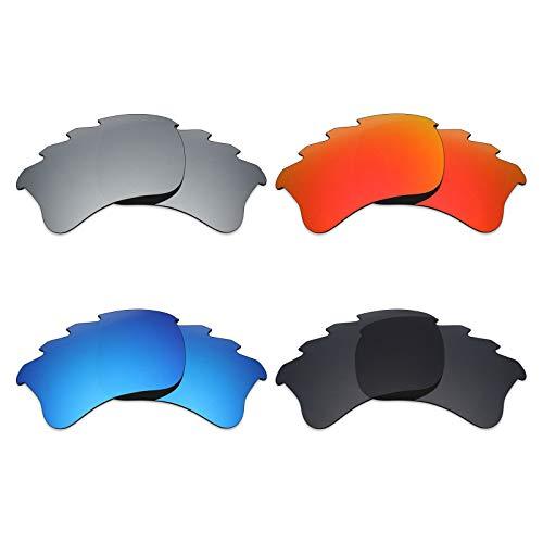 MRY 4Paar Polarisierte Ersatz-Gläser für Oakley Flak Jacket XLJ Belüftete sunglasses-stealth schwarz/fire rot/ice blau/silber titan